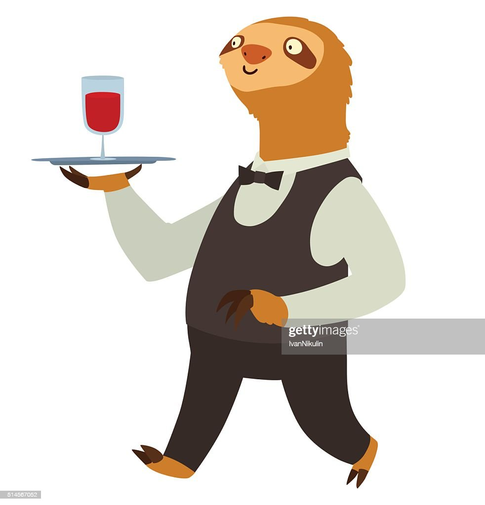 Flat cute light brown sloth with glass of red wine