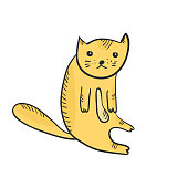 Flat cute sketch of sitting outline orange cat