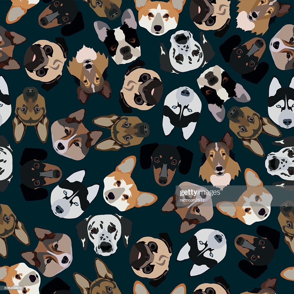 flat dark seamless pattern pedigree dogs