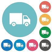 Flat delivery truck icons