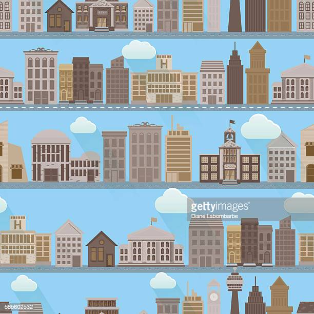 Flat Design 2.0 Seamless pattern Of Houses and Roads