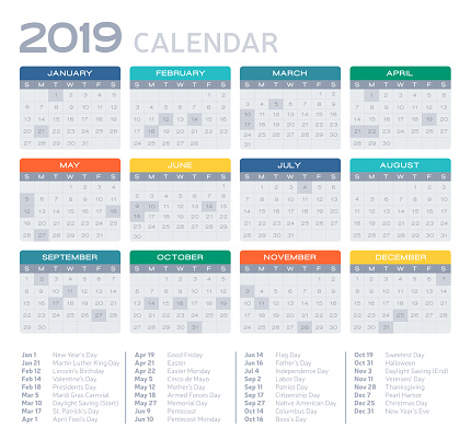 Flat Design 2019 Calendar - gettyimageskorea