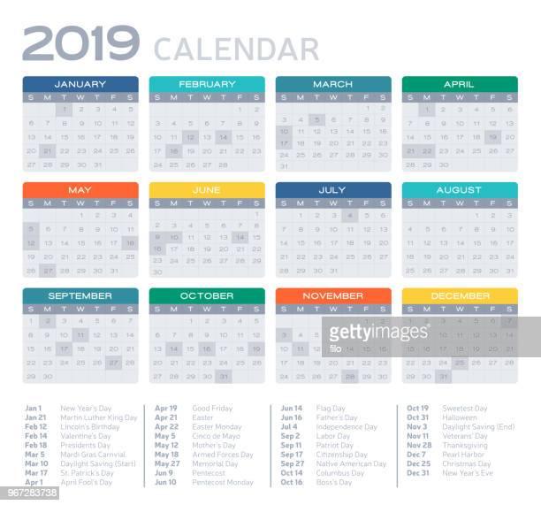 flat design 2019 calendar - 2019 stock illustrations