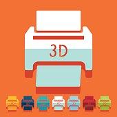 Flat design: 3D printer