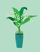 Flat design. A valley lily in a vase. Vecto