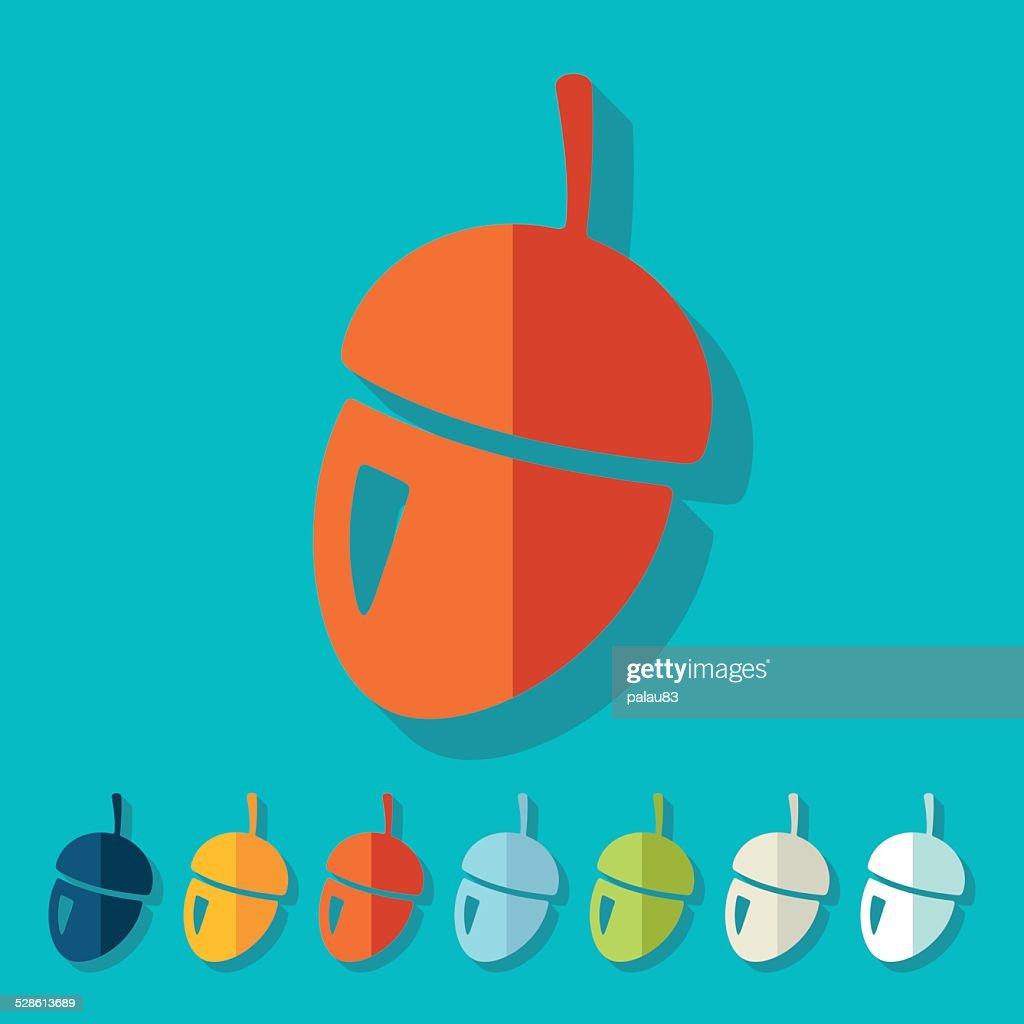 Flat design: acorn