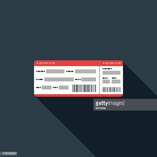 flat design airline boarding pass icon with long shadow - boarding pass stock illustrations, clip art, cartoons, & icons