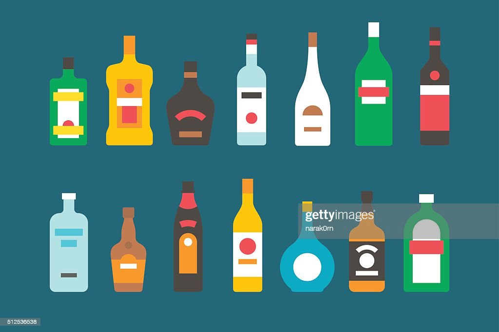 Flat design alcohol bottles collection