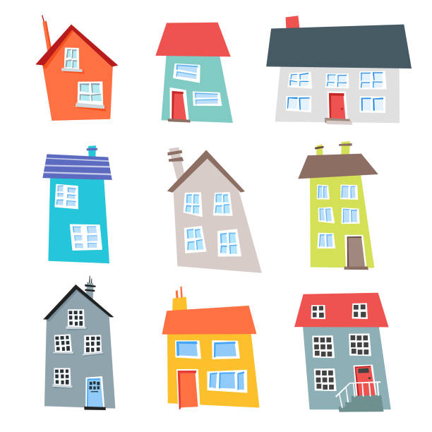 flat design and colorful houses collection - cartoon stock illustrations