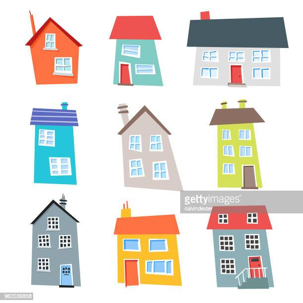 flat design and colorful houses collection - town stock illustrations