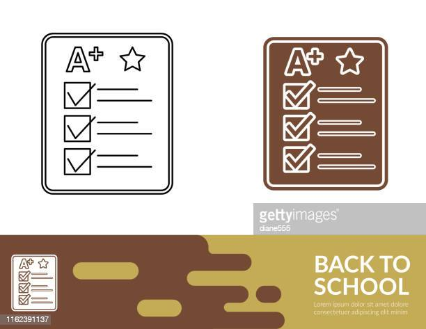 flat design and thin line illustration icon  back to school - report card stock illustrations