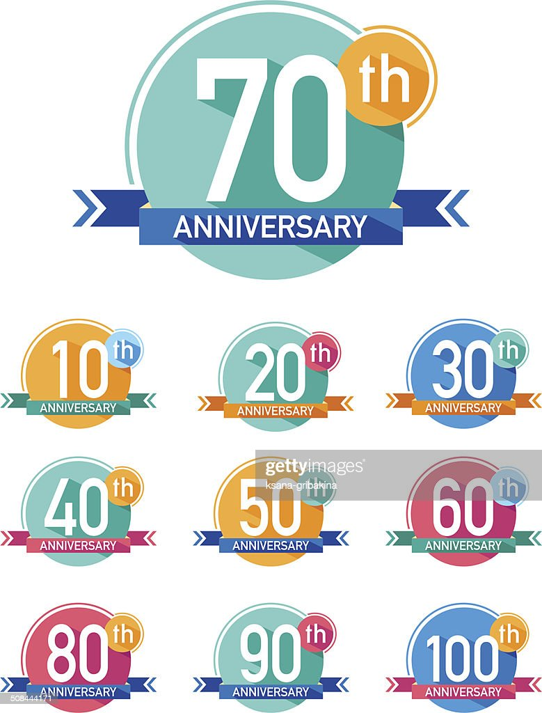 Flat design anniversary emblems set