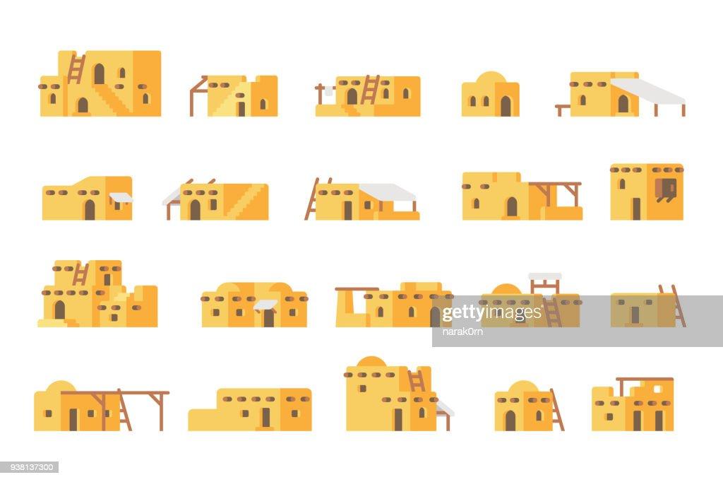Flat design arab mud house set