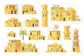 Flat design arab mud houses