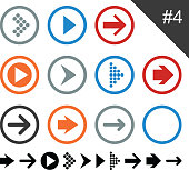 Flat design arrow icons pointing
