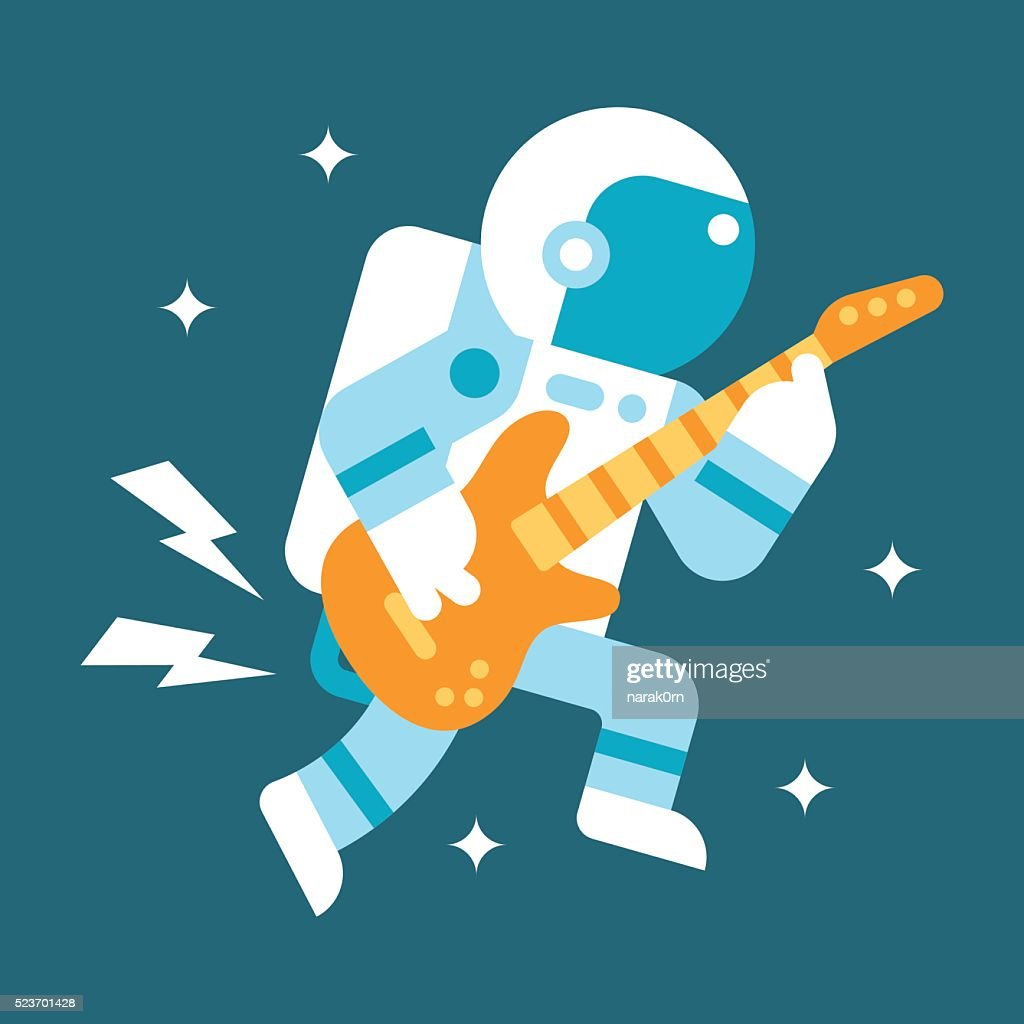 Flat design astronaut playing guitar