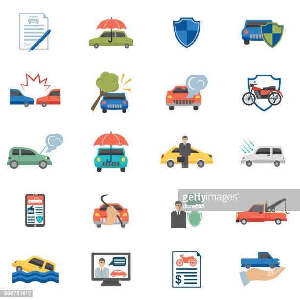 flat design auto insurance icons - motorcycle accident stock illustrations