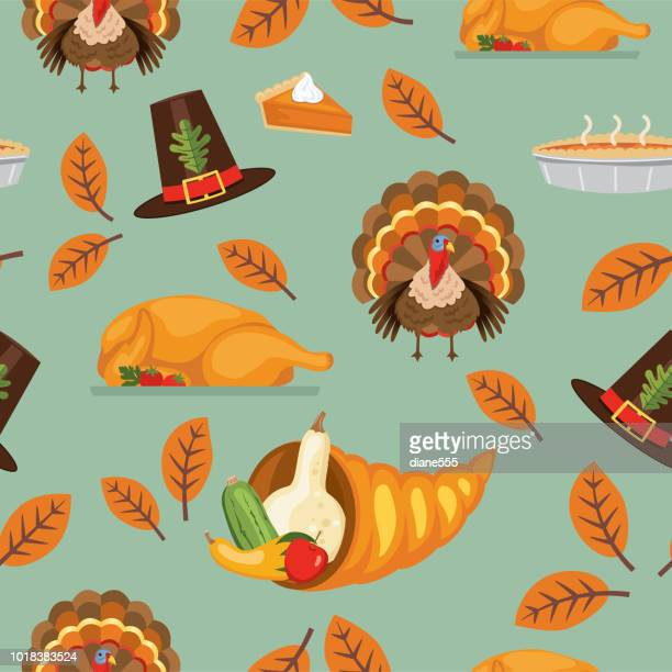 フラットなデザイン秋のシームレス パターン - 豊穣の角点のイラスト素材/クリップアート素材/マンガ素材/アイコン素材