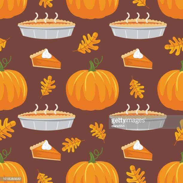flat design autumn seamless pattern - cartoon desserts stock illustrations