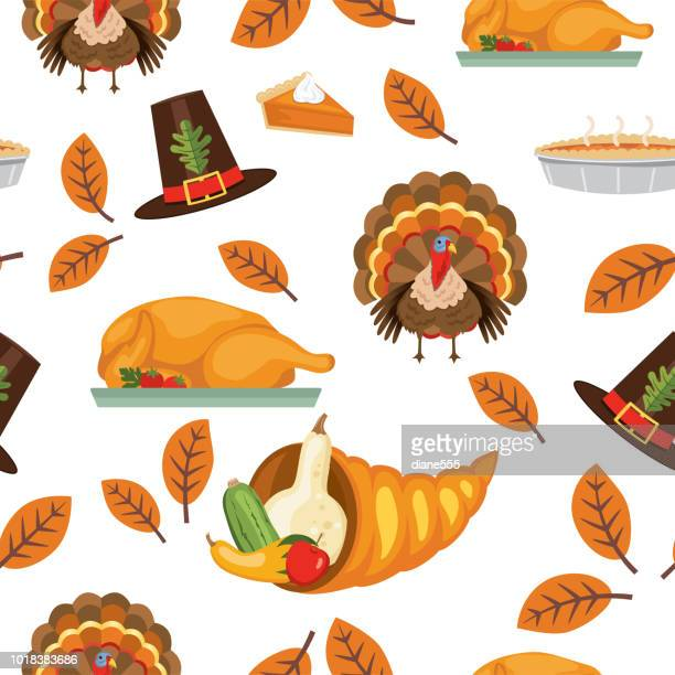 flat design autumn seamless pattern - canadian thanksgiving stock illustrations