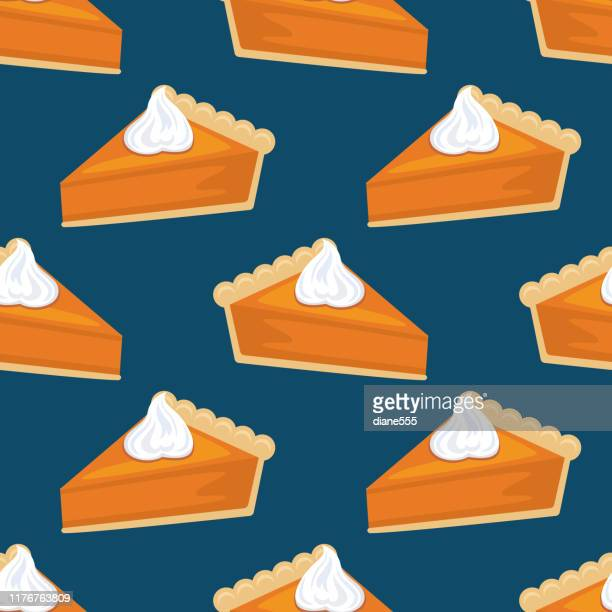 flat design autumn seamless pumpkin pie pattern - canadian thanksgiving stock illustrations