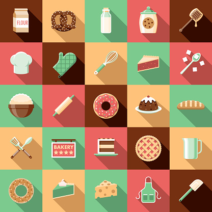 Flat Design Baking Icon Set with Side Shadow - gettyimageskorea