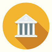 Flat Design Banking and Finance Bank Icon with Side Shadow