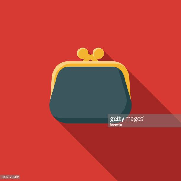 illustrazioni stock, clip art, cartoni animati e icone di tendenza di flat design banking and finance coin purse icon with side shadow - borsetta da sera