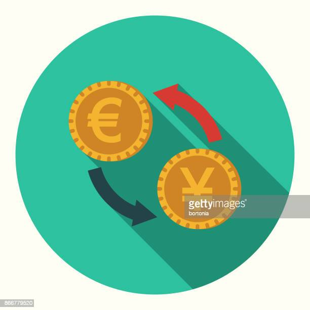 flat design banking and finance currency exchange icon with side shadow - currency exchange stock illustrations