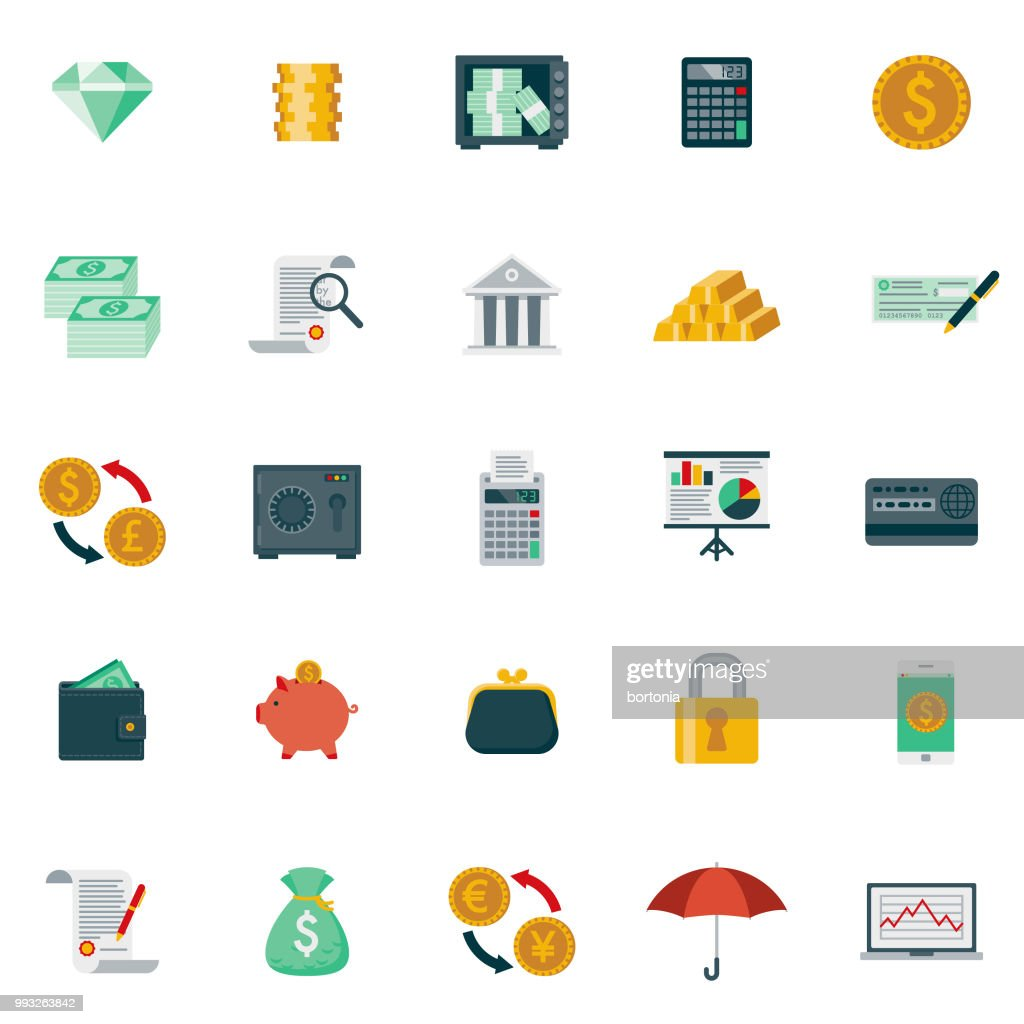 Flat Design Banking and Finance Icon Set : Stock Illustration
