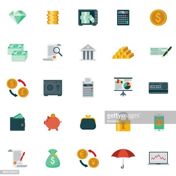 stockillustraties, clipart, cartoons en iconen met platte ontwerp bankwezen en financiën icon set - kleurenfoto