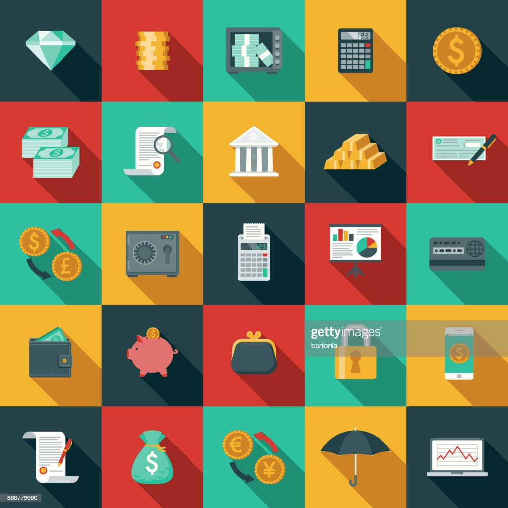 Flat Design Banking and Finance Icon Set with Side Shadow : stock illustration