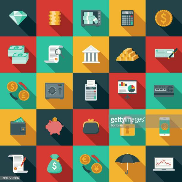 flat design banking and finance icon set with side shadow - color image stock illustrations