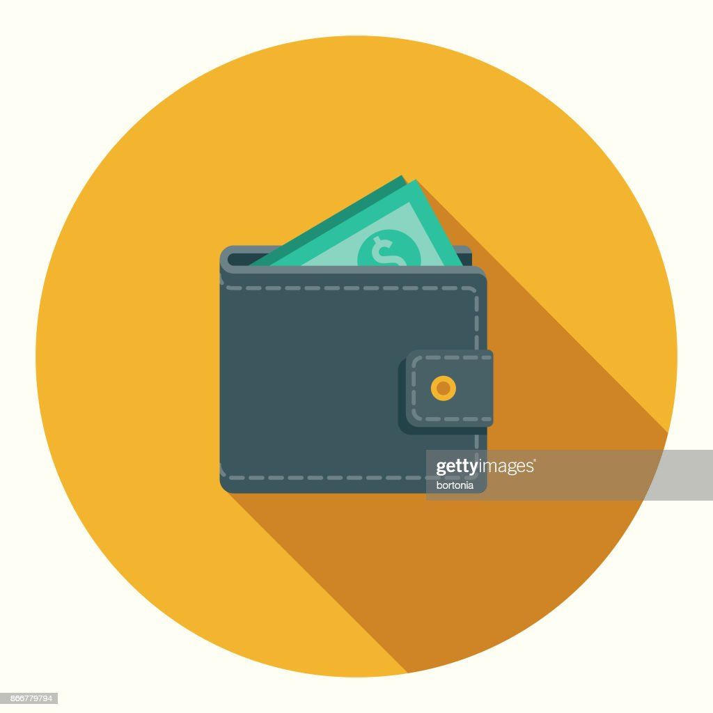 Flat Design Banking and Finance Wallet Icon with Side Shadow