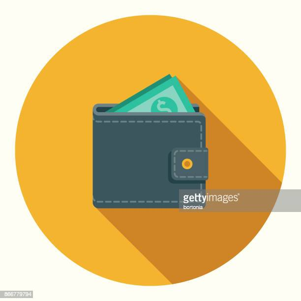 flat design banking and finance wallet icon with side shadow - wallet stock illustrations