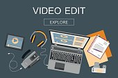 Flat design banner for  video edition.