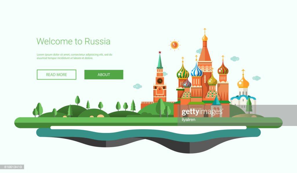 Flat design banner, header travel illustration with Russian landscape