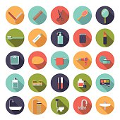 Flat Design Bath and Beauty Vector Icons Collection