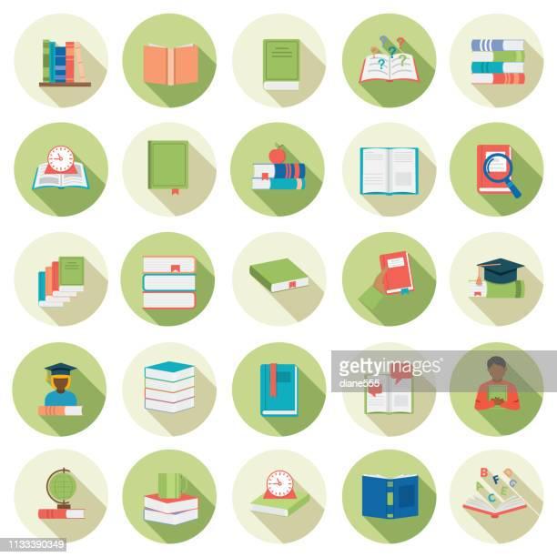 ilustrações, clipart, desenhos animados e ícones de jogo liso do ícone do livro do projeto - livro didático