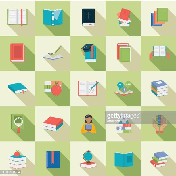 ilustraciones, imágenes clip art, dibujos animados e iconos de stock de conjunto de iconos de libro de diseño plano - personas leyendo la biblia