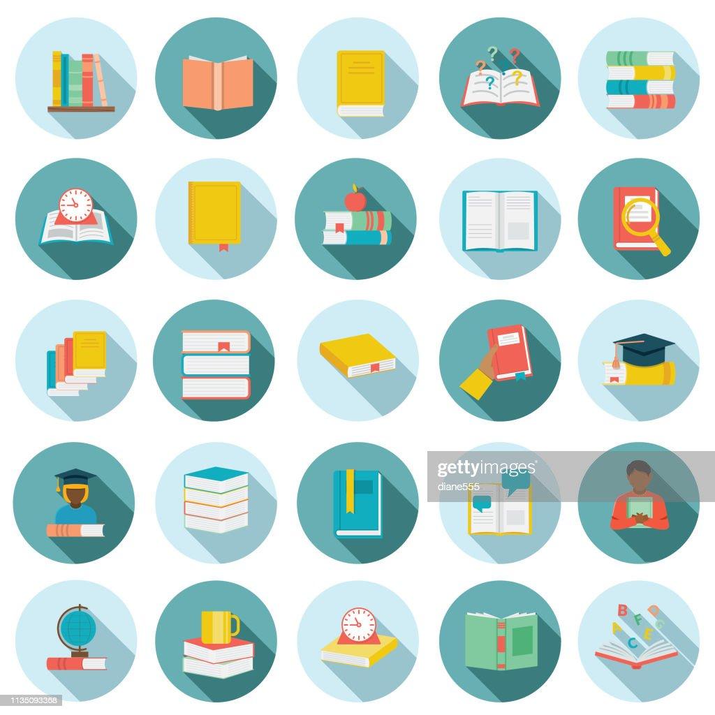 Flat Design Book Icon Set : Stock Illustration