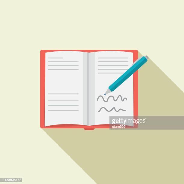 ilustraciones, imágenes clip art, dibujos animados e iconos de stock de icono de libro de diseño plano - escribir