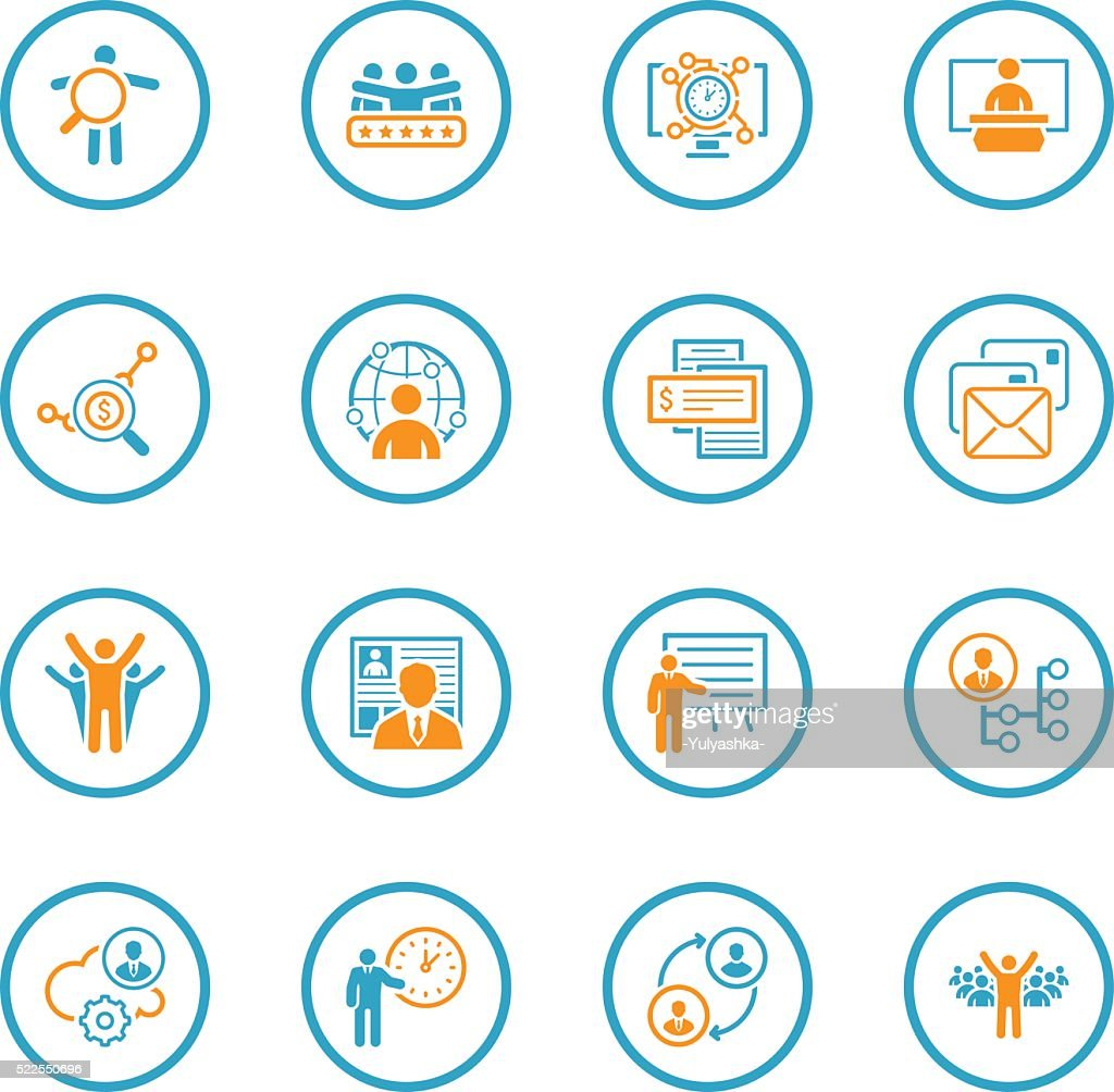 Flat Design Business and Finance Icons Set.