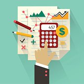 Flat design. Business concept with hand. Accounting infographic