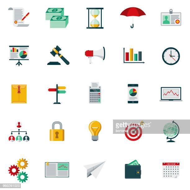 フラットなデザイン ビジネス アイコン セット - 札入れ点のイラスト素材/クリップアート素材/マンガ素材/アイコン素材