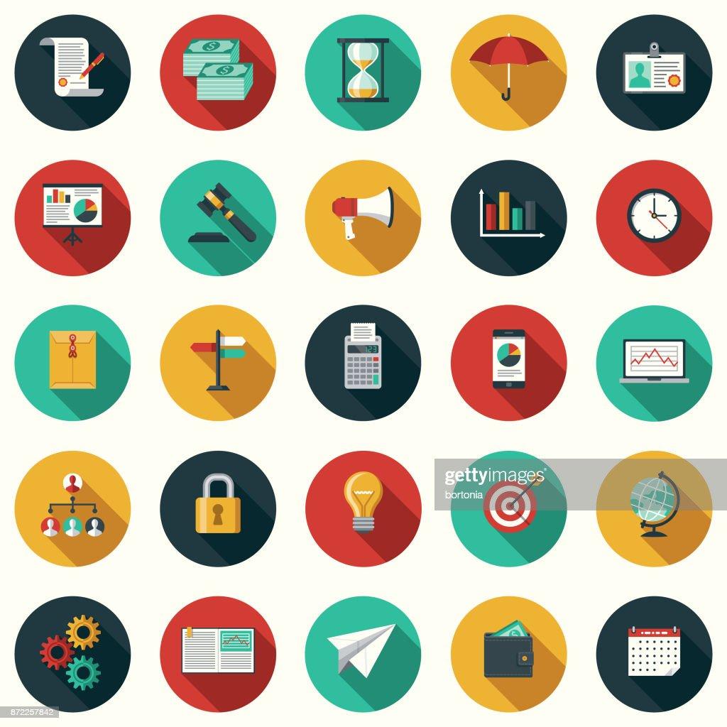 Conjunto de iconos de negocios de diseño plano con sombra lateral : Ilustración de stock