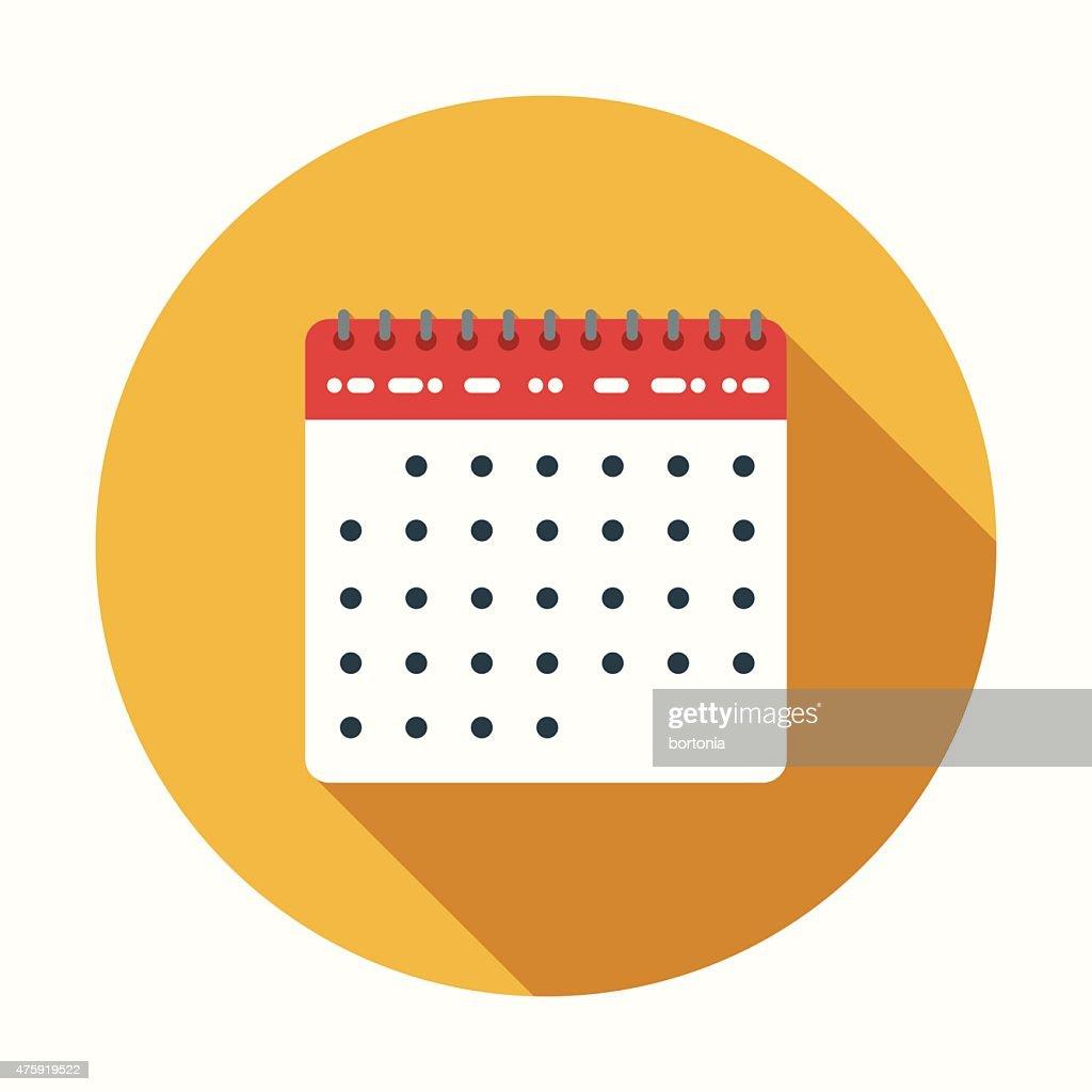 Calendar Design Icon : Flat design calendar icon with long shadow vector art