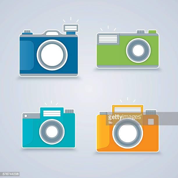 ilustrações de stock, clip art, desenhos animados e ícones de flat design cameras - maquina fotografica antiga