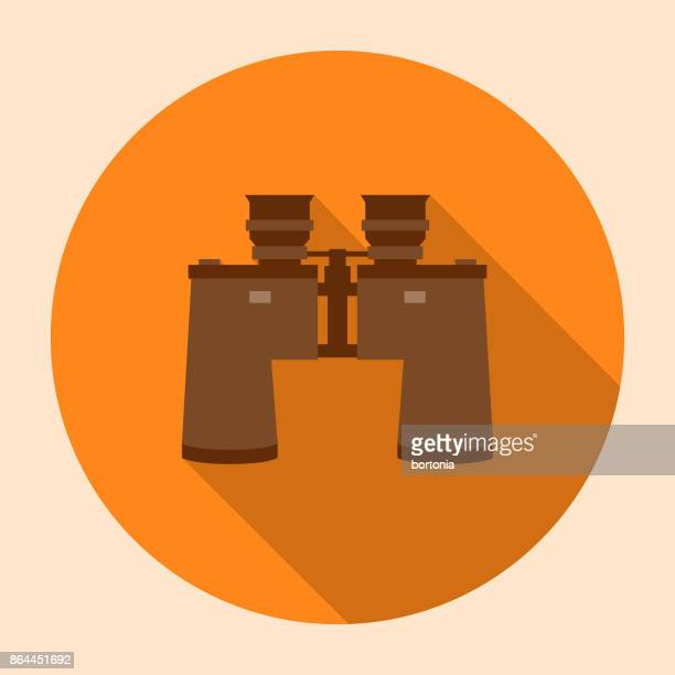 Flat Design Camping Binoculars Icon with Side Shadow