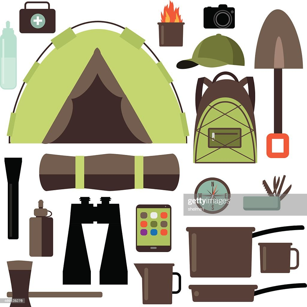 Flat design camping equipment collection EPS10